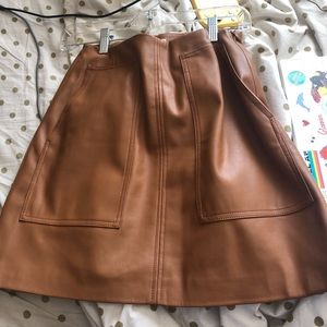 brown pleather mini skirt with pockets